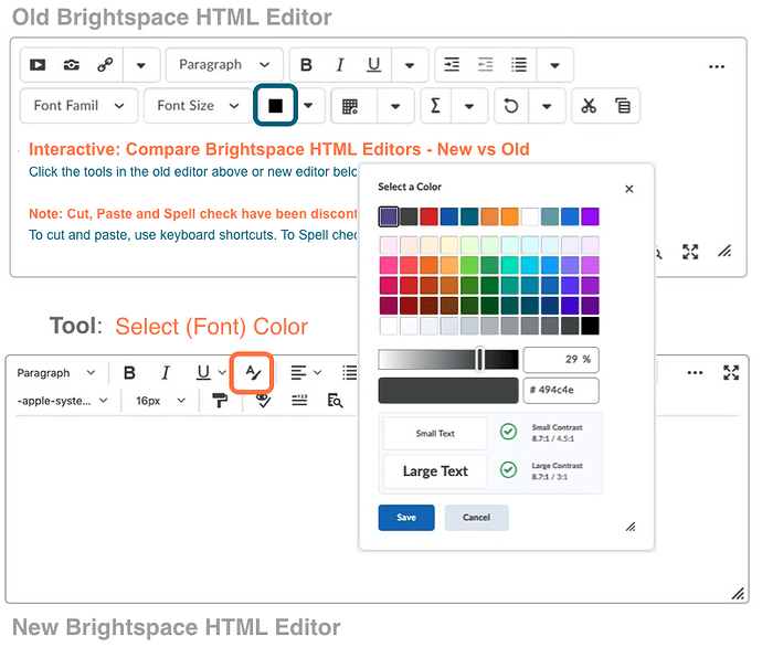 Brightspace Editor compare new old