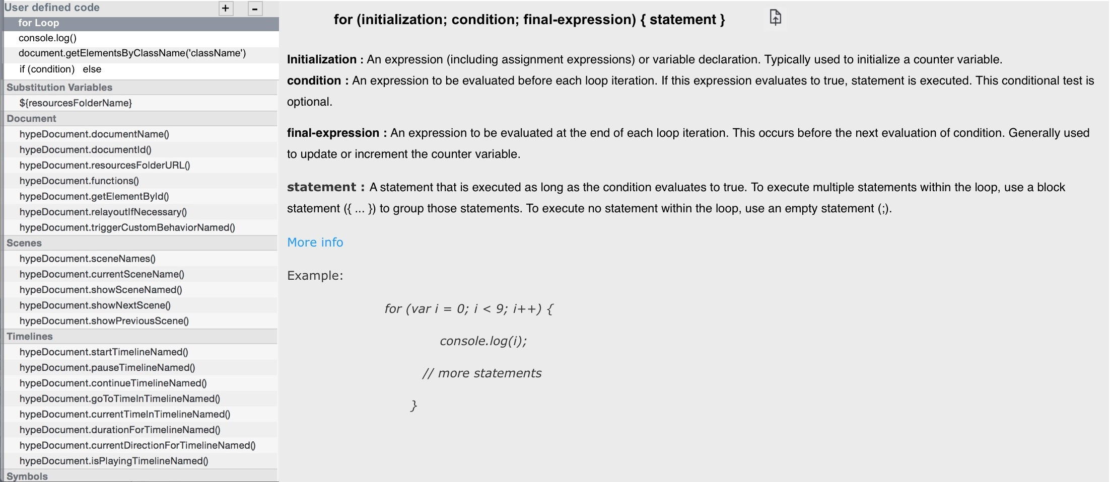 User defined code in JavaScript Documentation Viewer - Feature