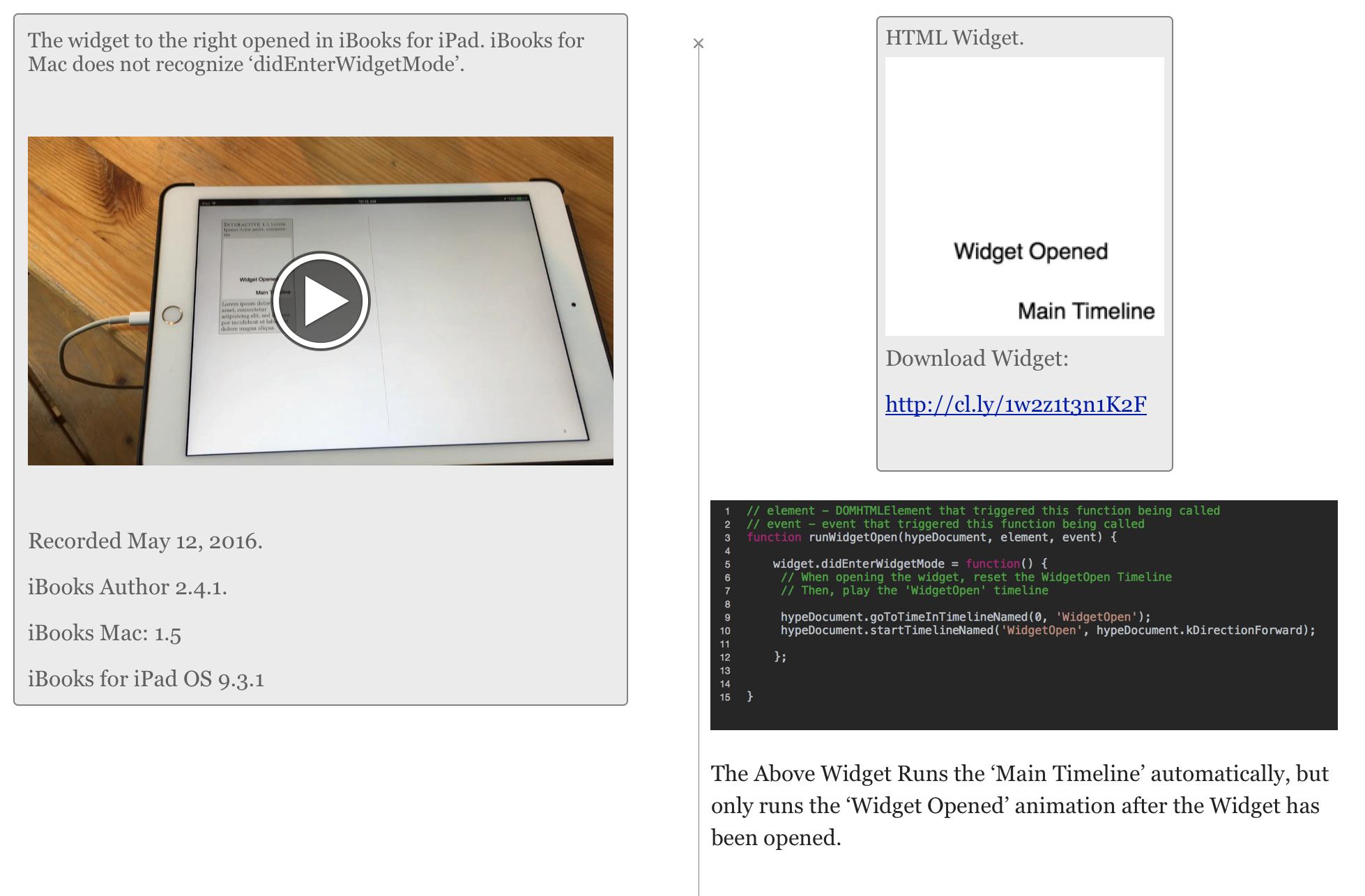 Advanced iBooks Author HTML Widgets: Widget Events, Storing