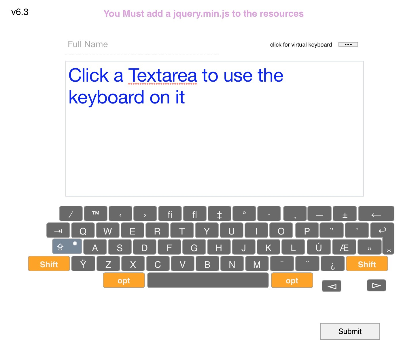 Virtual keyboard for use with Textareas - Template Gallery