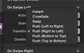 Symbol Swipe Options